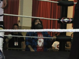 Quite the surprise - guest ringside enforcer Mick Foley!