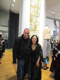 """With artist Nobuko Tsuruta in front of """"Requiem."""""""