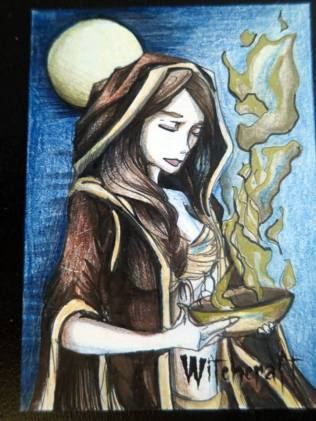 Witchcraft sketch card by Alexis Hill.