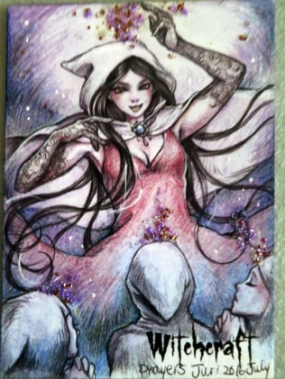 """Prayers"" Witchcraft sketch card by Juri Chinchilla."
