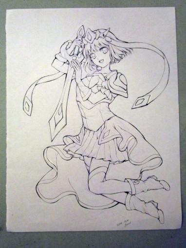 "Juri's original art for Sarah ""Sakky"" Ruth Ford's Magical Girl Coloring Book."