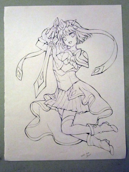 "Juri's original art for Sarah ""Sakky"" Ruth Ford's Magical Girl Coloring Book."
