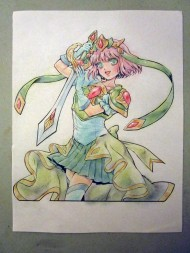 """Juri's coloring of her page from Sarah """"Sakky"""" Ruth Ford's Magical Girl Coloring Book."""