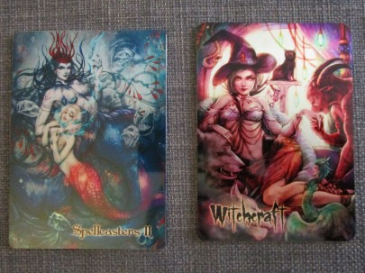 Spellcasters II and Witchcraft metal chase cards by Juri Chinchilla.