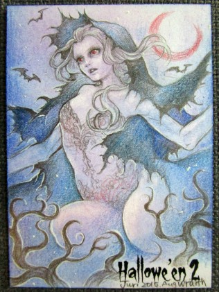 """Wraith"" Hallowe'en 2 sketch card by Juri Chinchilla."